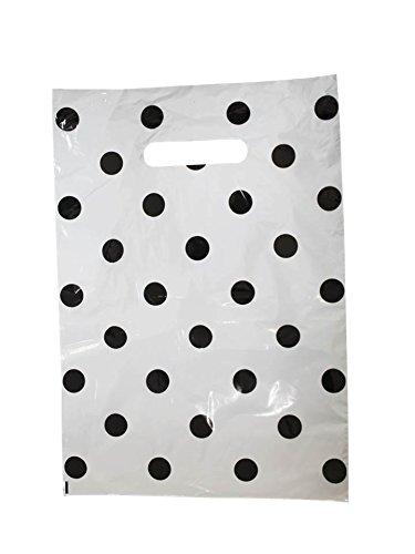 Tragetaschen LDPE Plastiktüten Funny 25 x 35 cm Einkaufstüten Beutel Shopper weiß Punkte schwarz (200 Stück) (Weiße Tragetasche)