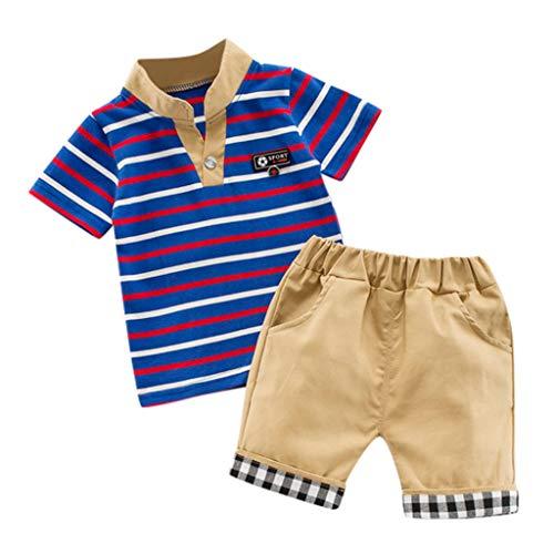 isex Schlafsack Strampler Kinder Kleinkind Kid Baby Boy Gentleman Streifen Tops T-Shirt Plaid Shorts Outfit Set Kleidung ODRD Mädchen Jungen Body Babyschlafsack Kleinkind Sommer ()