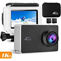 """2.45"""" Touchscreen 4K Action Camera, BFULL 20MP WiFi Sports Action Camera with EIS Anti-shake Ultra HD Underwater Waterproof Camcorder 170° CMOS Sensor 2 Upgraded Batteries 1050Mah, Portable Carrying Bag and Mounting Accessories Kits"""