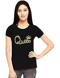 Applecreation Women's Cotton Queen Printed Round Neck Half Sleeve T-Shirt (Black_XXL)
