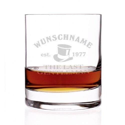 Herz & Heim® Bar Whisky Glas mit gratis Gravur - Name - Motive: The Last Gentleman -