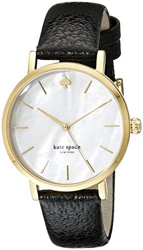 Kate Spade Women's Black Leather Band Steel Case Quartz MOP Dial Date Analog Watch 1YRU0010