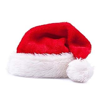 Fliyeong Gorro navideño de Santa Grosor de lujo Corto de felpa Gorro de Navidad Grosor alargado de gorro de Navidad de Papá Noel para adultos