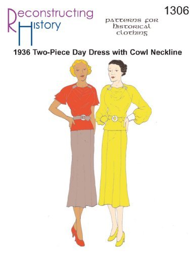 1936 2-piece Day Dress with Cowl Neckline by Reconstructing History