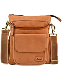 Embee's Classic Mini Tan Colored Genuine Leather Unisex Cross Body Sling Bag For All 8 Inch Tablets- IPad Mini...