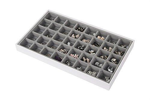 JackCubeDesign 40 Compartimentos Bandeja de joyería de cuero apilable Collar de pendiente Pulsera Anillo Organizador Pantalla Caja de almacenamiento (juego de 1, blanco, 40,6 x 24,4 x 4 cm) -: MK212-2A