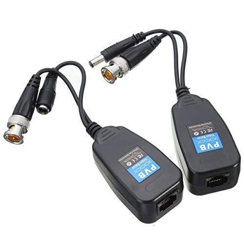 Busirde 1 Paar CAT5e 6 RJ45-Steckverbinder Doppel verdrillte Drähte Transmitter HD Video Power Balun Transceiver Balun Sender