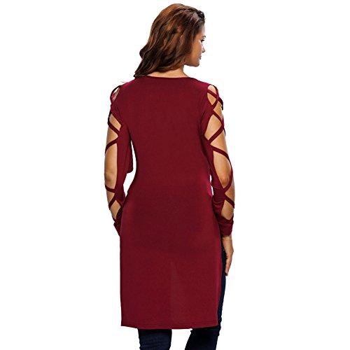 L'Europe et les États-Unis, le nouveau V-cou en quinconce manches longues courtes avant T-shirt des longues ouvertes femmes fourche wine red