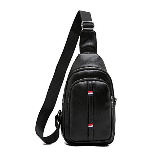 Umhängetasche Herren Brust Tasche Messenger Schulter PU Leder Casual Business Multifunktions-Outdoor-Reise (Größe: 18 * 5 * 29cm) (Farbe : Black A)