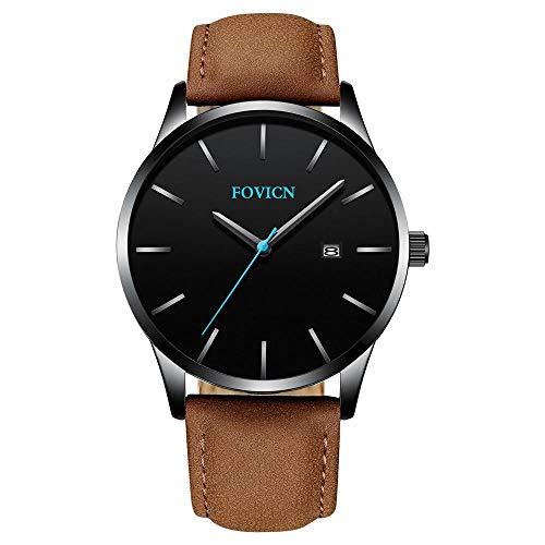 FOVICN Herren Uhr Analog Quarzwerk mit Leder Armband Date