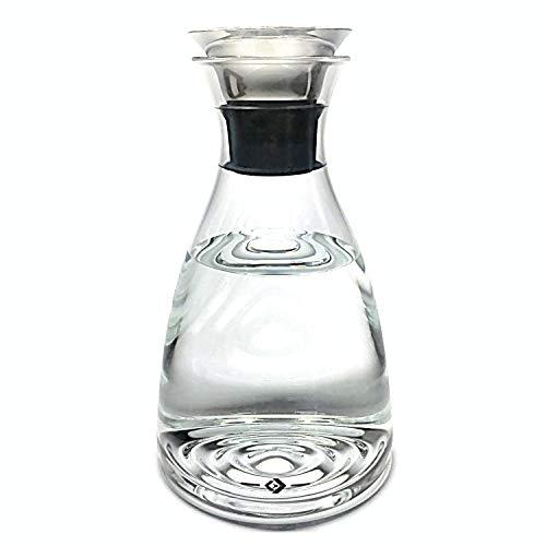 Volantis Wasserkaraffe 1,5l aus Borosilikatglas mit topffreiem Edelstahl-Ausgießer für warme und kalte Getränke mit Deckel