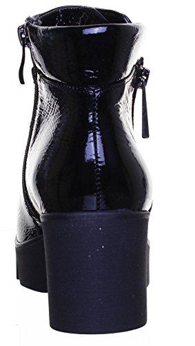 Justin Reece Mid en cuir pour femme Talon Compensé pointu Bottes Taille Black Patent FF