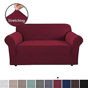 BellaHills Sofa Cover 2 Sitzer elastische Sofa Hussen für Wohnzimmer Spandex Stretch-Gewebe Super Soft, Stretching Rutschfestigkeit Möbel Protector-Burgund Rot