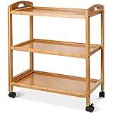 HOMFA Carro de servicio 3 estantes de Bambú Carro de Comida Trolley de cocina Estantería de