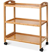 Homfa Kitchen Trolley Storage Trolley 3 Tier Serving Cart Tea Trolley on Wheel Bamboo 40.5x33x73cm