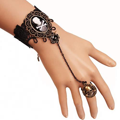 MHOOOA 20 cm Justierbares Europäisches Und Amerikanisches Schmuck-Piraten-Schädel-Bohrgerät-Armband-Weibliche Persönlichkeit MitSpitze-Armband