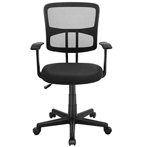 SONGMICS Ergonomischer Bürostuhl, Höhenverstellbarer Kleiner Schreibtischstuhl, Drehstuhl aus Atmungsaktivem Netzstoff, geschwungene Armlehnen, Belastbarkeit 120 kg, für Soho- oder Büroarbeit, OBN11BK (Computer Stuhl Kleine)