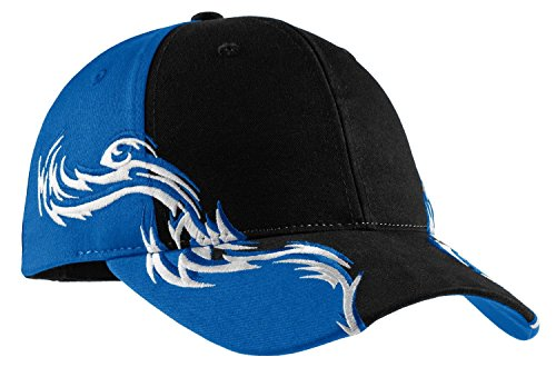Port Authority Herren Colorblock Racing Cap mit Flammen Gr. One size, Blk/Royal/Wht (Port Authority Twill Cap)