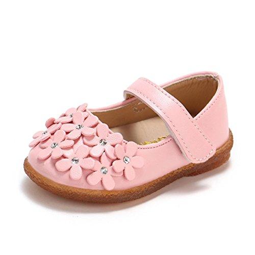 QinMM Kleinkind Baby Mädchen Kinder Blume Leder Einzelne Schuhe Weiche Sohle Prinzessin Schuhe Sommerhaus Außerhalb Nette Sneaker Weiß Rot Rosa 14-24 (22 EU, Rosa) -