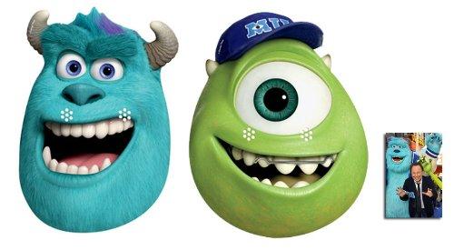 Hollywood Monster Kostüm - Sulley und Mike Karte Partei Gesichtsmasken (Maske) Packung von 2 (Monsters University) - Enthält 6X4 (15X10Cm) starfoto