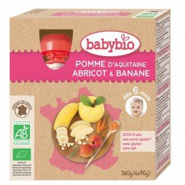 Mes Fruits Bio - Gourde Pomme Abricot Banane - 4x90g