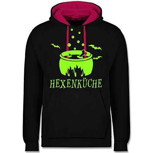 Küche - Hexenküche - Kontrast Hoodie Schwarz/Fuchsia