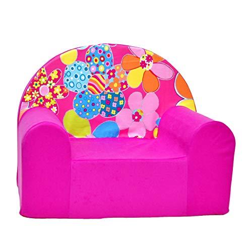 millybo Kindersessel Mini Sessel Kindermöbel Kinderstuhl Kindersofa viele Muster (H12-rosa Blumen)