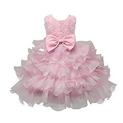 Idea Regalo - Vestito bambini Bambino Abito vestiti Ragazze Fiore Compleanno Nozze damigella d'onore Pageant Principessa Formale Tutus Dress Rawdah (Rosa, 12M)