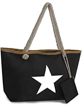 Damen Handtasche Canvas Tasche mit Stern - XXL Shopper/Strandtasche - Inkl. Passender Geldtasche - extra lange...