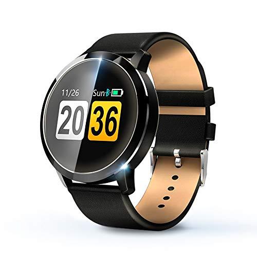 KawKaw Q8A Smartwatch & Activity-Tracker (Wasserdicht) - Fitnesstracker mit Schrittzähler,Kalorienzähler, Pulsmesser, Whatsapp, SMS, Vibration, Multi Sport-Tracker (Schwarzes Lederarmband)