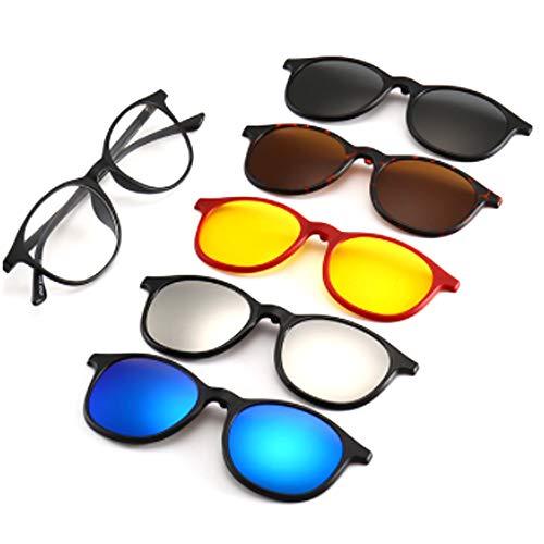 hlq Shopping Retro Style Sonnenbrille, UV400 Polariisierte Lens Retro Magnetic Clamps Sichtbare Lichtperspektive 99% Ultra Light 6 Piece Set,2245T