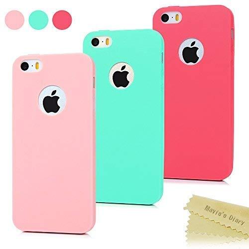 3x Funda iPhone SE, Carcasa iPhone 5S Silicona Gel