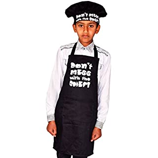 Sterling Smart® Kids Don'T Mess with The Chef Childrens Apron & Hat Set NOVELTY APRON,BLACK, COOKING APRON,BAKEWARE APRON,BBQ APRON