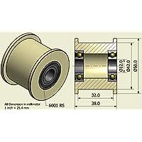 Pack de 4 x Nylon Cinturón Idler 50 mm diámetro 32 mm Groove 12 mm Rodamiento Precisamente mecanizado en la UE (50-32-12)