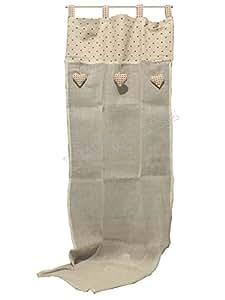 Coppia tendine Tende Marinette Cuoricini - Country Shabby chic Provenzale - tessuto in Lino e cotone - Cm 60x150