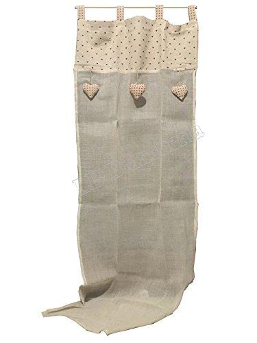 Coppia tendine Tende Marinette Cuoricini - Country Shabby chic Provenzale - tessuto in Lino e cotone - Cm 60x240