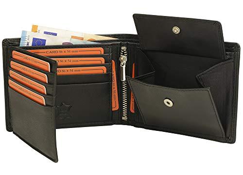 6742f17572688 Fa.Volmer ® Schwarze Herren Geldbörse echt Leder Querformat mit RFID Schutz   SQ70