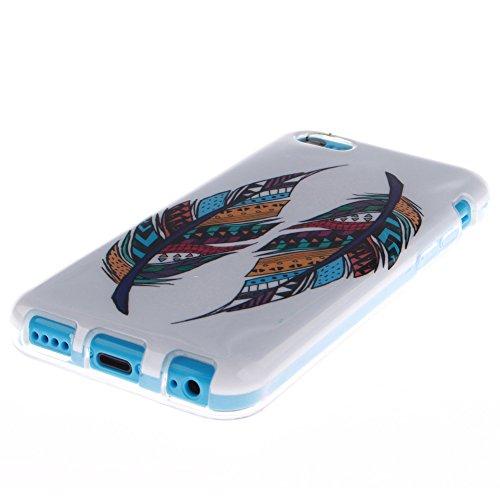 Pour Apple iPhone 5C pouce Cas, MCHSHOP Ultra-mince TPU Silicone Cover souple Phone Housse Coque de protection pour iPhone 5C - 1 gratuit Touch Pen (Tête de Lion) Plume aztèque tribal