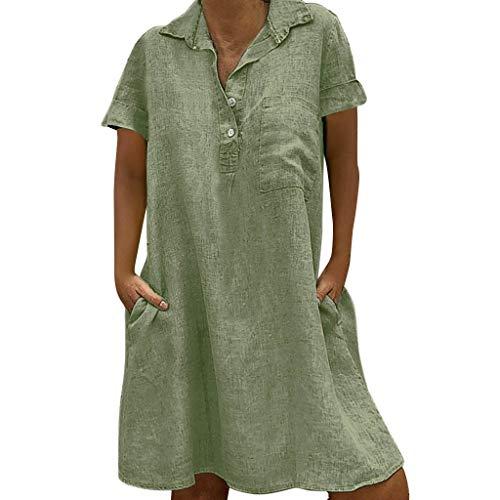 EUCoo Damen Leinen Kleid Sommer tropischen Stil Volltonfarbe V-Ausschnitt Tasche beiläufige lose Hemdkleid -