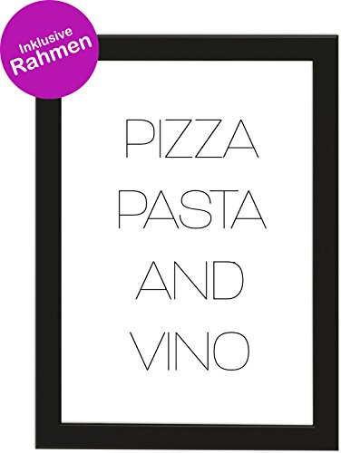 IN A4 Pizza, Pasta and Vino, gerahmt mit schwarzem Bilderrahmen, Geschenk, Geschenkidee, Geburtstagsgeschenk, Poster mit Rahmen, Kunstdruck, Typographie (Pizza) ()