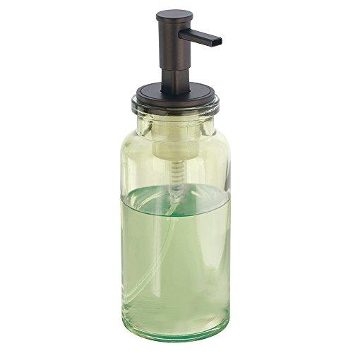iDesign 25031EU Westport Schaumseifenspender aus Glas, für Küche oder Bad, grün/bronzefarben (Set Apothecary Gläser)