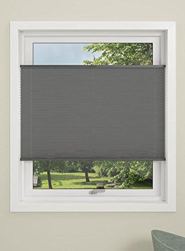 Debel Store plissé « Flex » 100 % Polyester 100 x 130 cm Noir, Tissu, Gris, 130 x 130 cm
