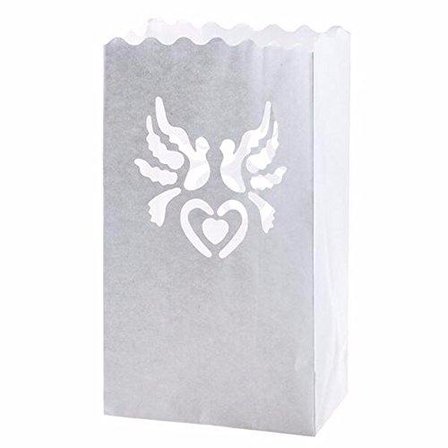 Fascola 20x Romantische Dove Teelichthalter Lichtertüte Luminaria Papier Laterne Kerze Tasche Flamme retardiertes für Weihnachten Party Hochzeit Gastgeschenken