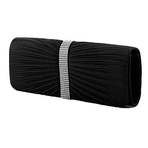 Moda Pieghe Borsette Da Sera Cristalli Strass Borsa Portafoglio Multicolore Black
