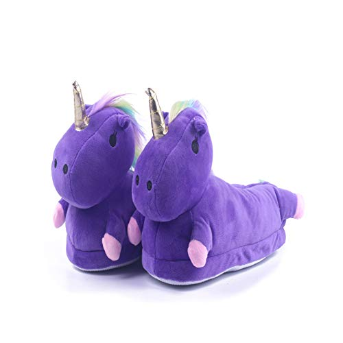 Kimily unicorno adulto bambino bambina donna ciabatte invernali stivali cartoni cnimali slippers peluche led mantieni caldo pantofole scarpa
