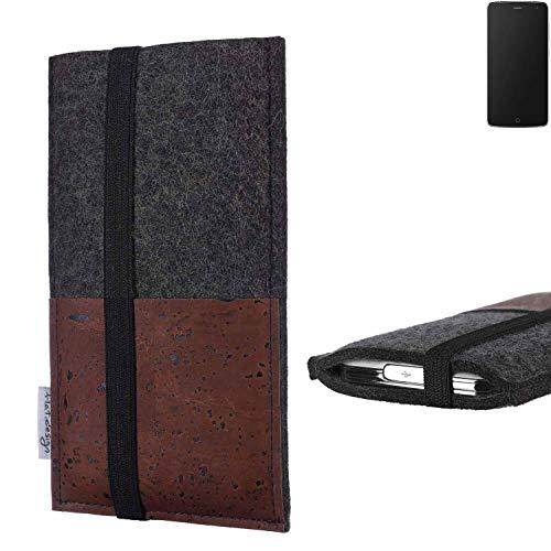 flat.design Handy Hülle Sintra für Alcatel Flash Handytasche Filz Tasche Schutz Kartenfach Case braun Kork