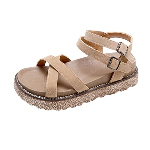 S&H-NEEDRA Women's Vintage Flat Ankle Cross Straps Buckles Beach Shoes Roman Slippers