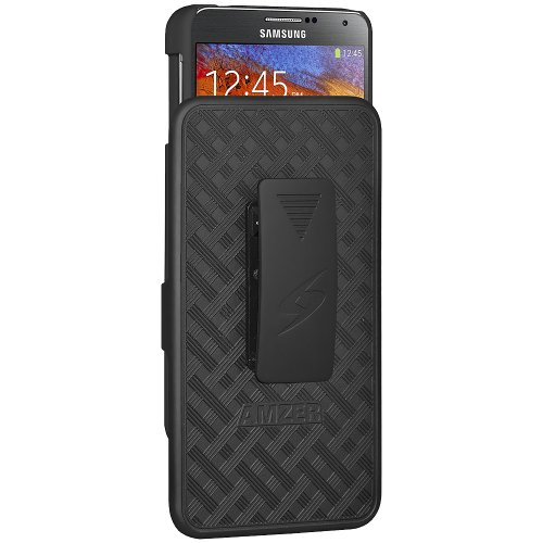 Amzer 96226 ShellsterTM with Kickstand - Black for Samsung GALAXY Note 3 SM-N9000, Samsung GALAXY Note 3 SM-N9005, Samsung GALAXY Note 3 SM-N900  available at amazon for Rs.769