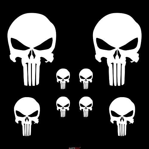 Autodomy Punisher Skull Aufkleber Paket 8 Stück für Auto oder Motorrad (Weiß)