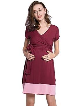 Molliya Donna Abito Premaman Estivo Vestito Manica Corta Scollatura a V,blocco di colore,rosso+Rosa,M